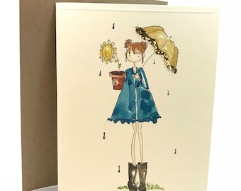 For girls, ladies, women, best friends,raining, hope, dancing in the rain, hand made, water colored cards