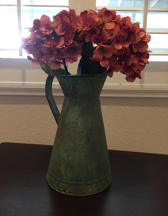 Etsy & Upcycled tin flower vase painted patina