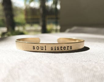 Hand-Stamped Cuff, Personalized Brass Bracelet, Custom Hand-Stamped Bracelet, Gold bracelet
