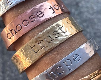 Wide Hand-Stamped Cuff, Personalized Brass Bracelet, Custom Hand-Stamped Bracelet, Gold bracelet, Thick Stamped Bracelet