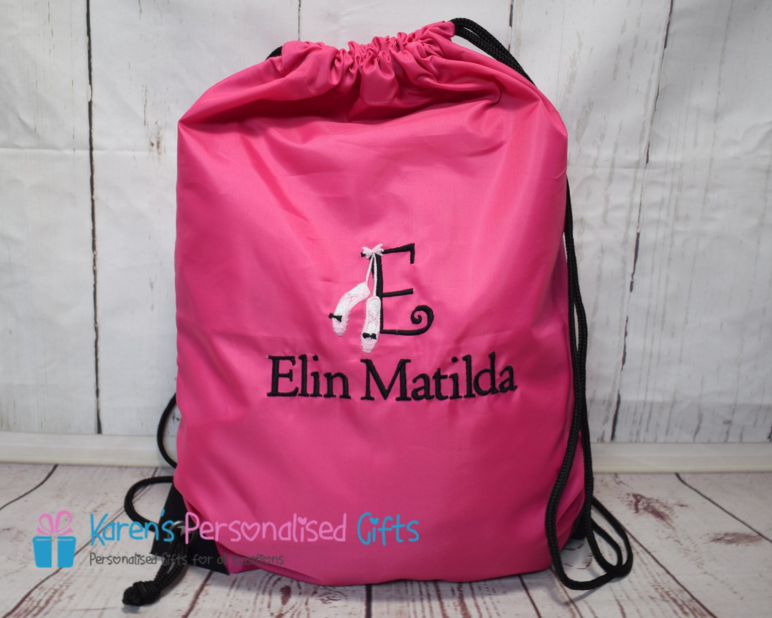 personalised pink swim bag, embroidered kids swimming bag, ballet shoes monogram initial with name, (choice of 4 colours)