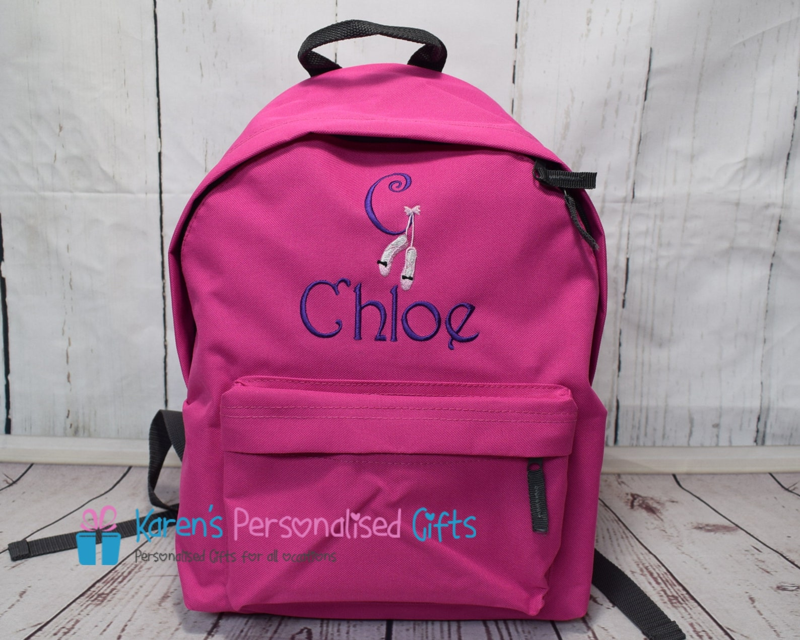 personalised kids backpack, pink, embroidered ballet shoes initial + name, rucksack, school bag, (choice of 4 colours)