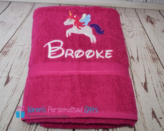 Hand Personalised Double heart giraffe Face Bath Towels gift colour choice