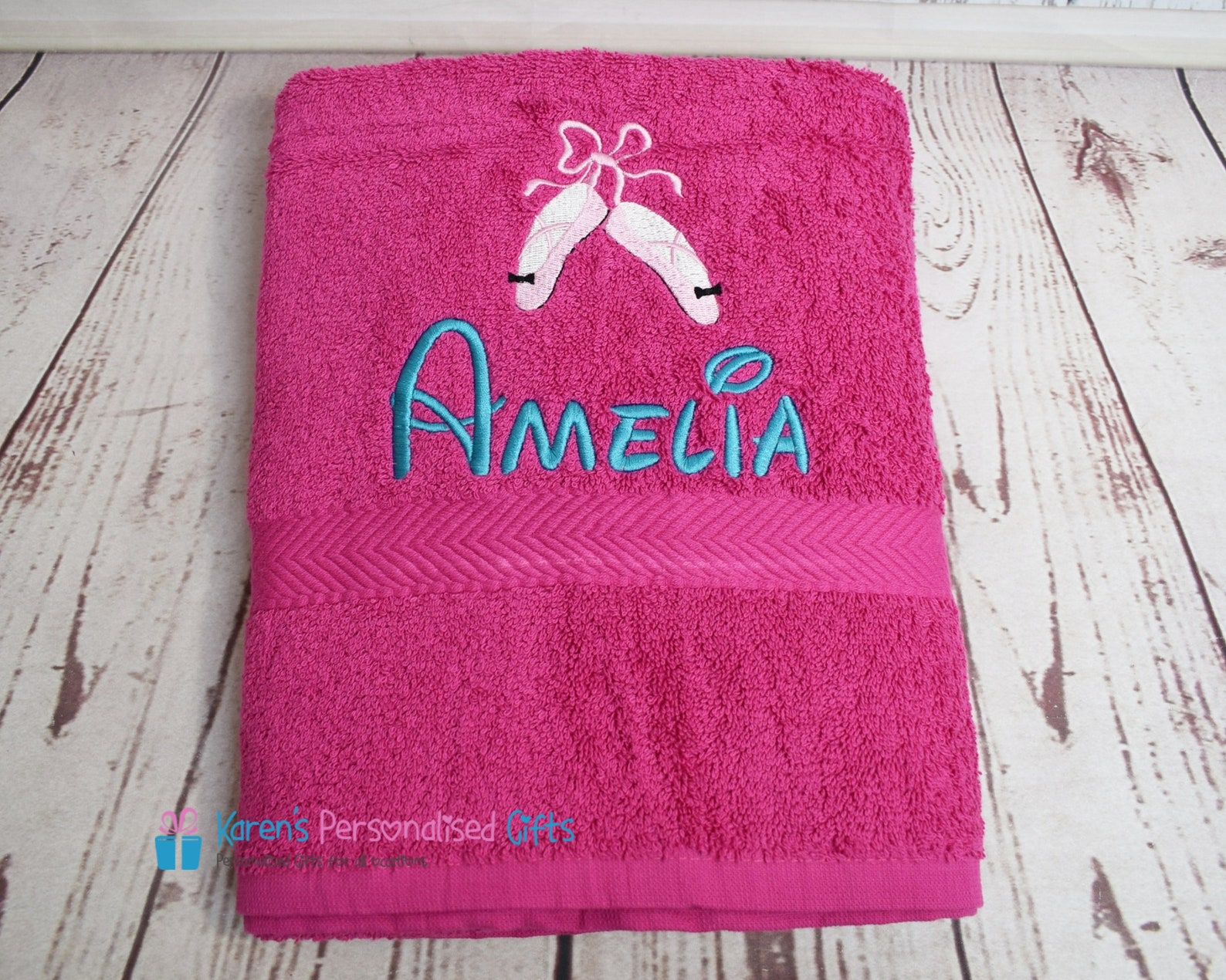 personalised kids bath towel, pink ballet shoes bath towel, children's ballet shoes swim towel, embroidered bath towel (choi