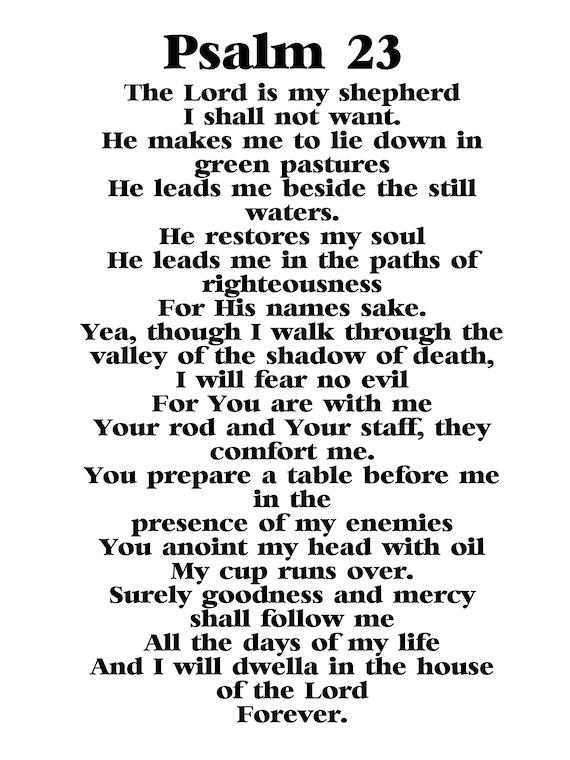 Playful image regarding psalm 23 printable