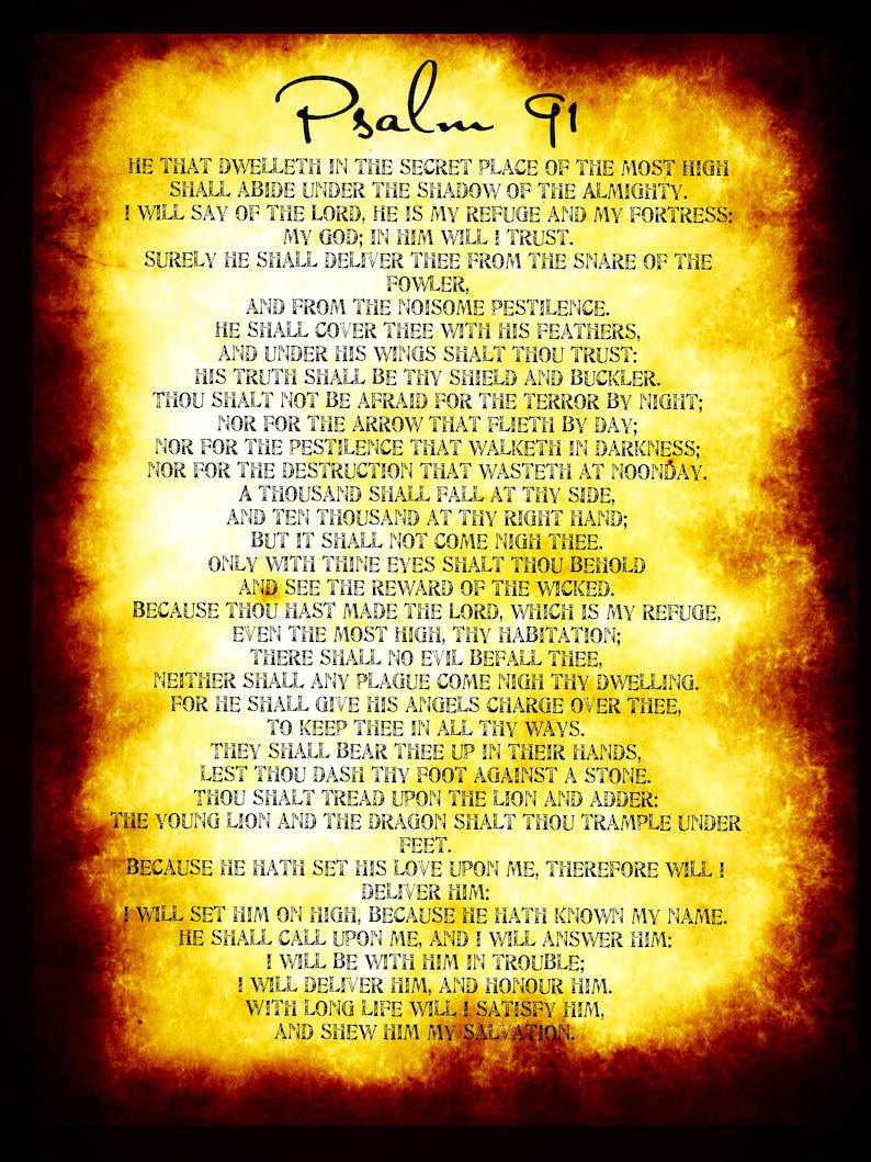 Psalm 91 poster  Huge Bible poster,