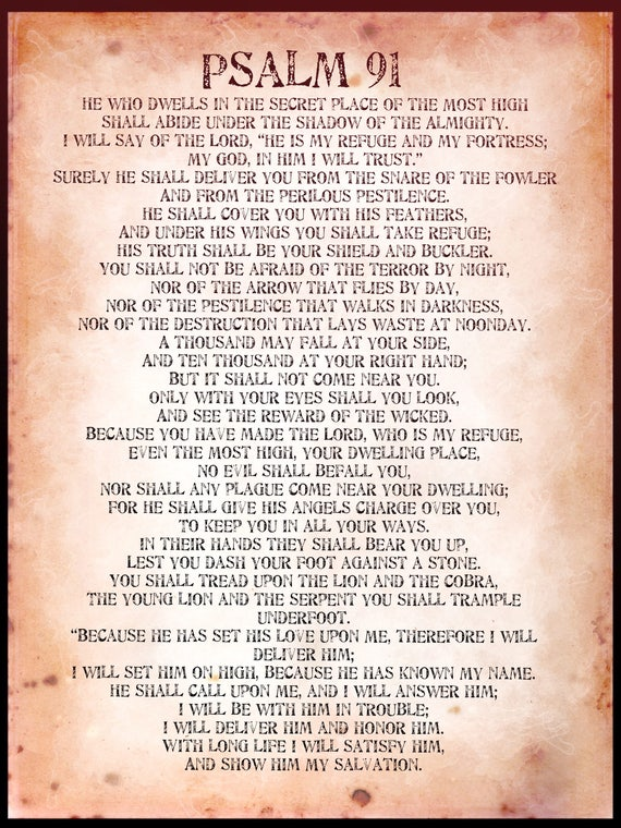 picture regarding Psalm 91 Printable named Psalm 91 poster. \