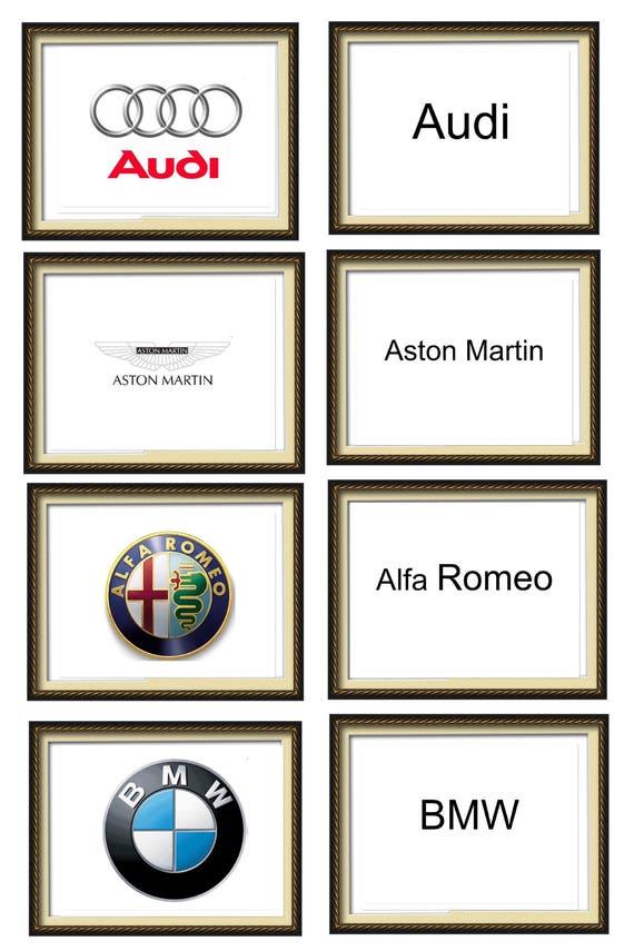 A Z Alphabet Car Symbols Car Names And Models Flashcards Etsy