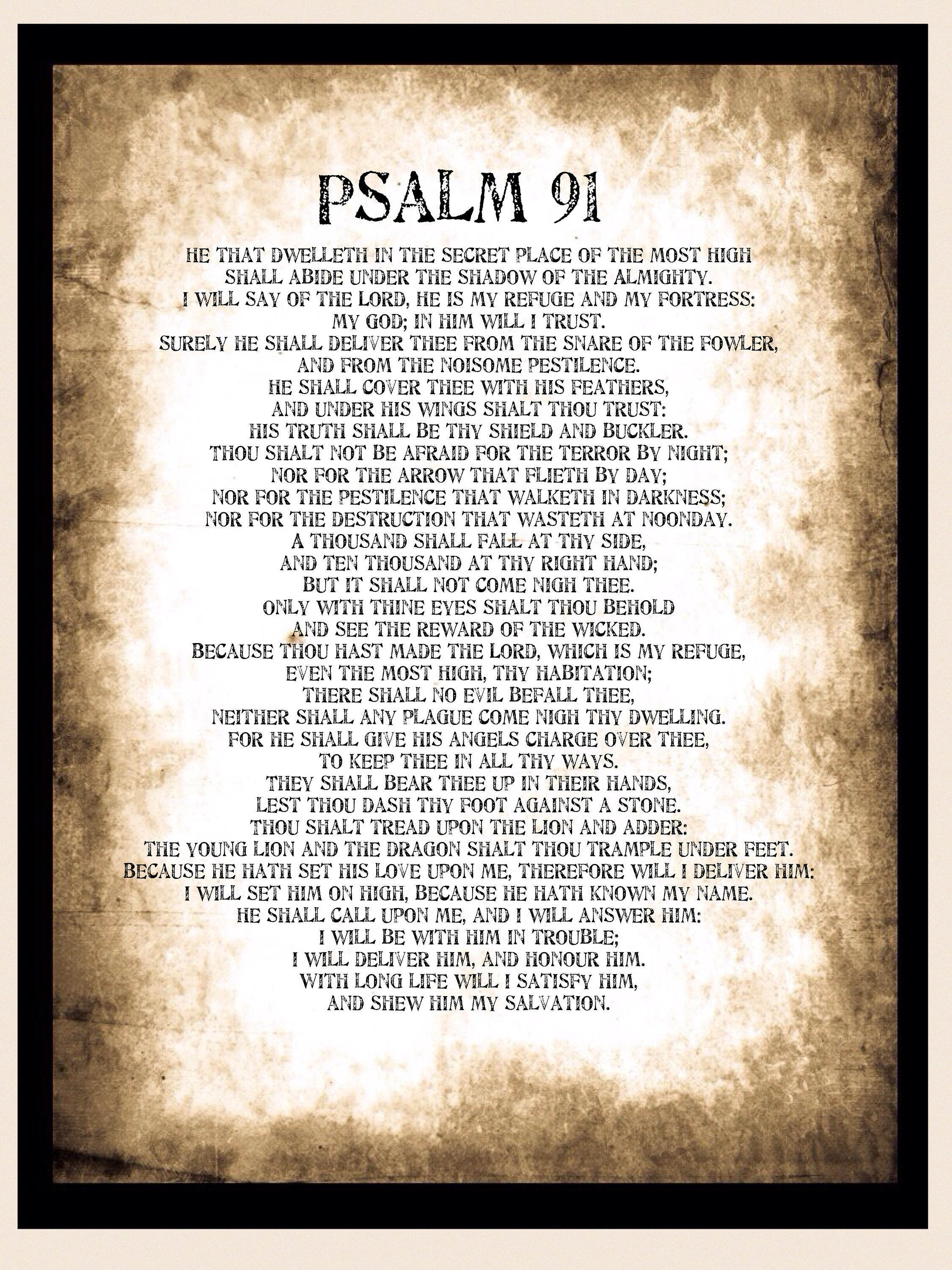 Psalm 91 Poster Huge A1 Psalm 91 Printable Download Wall