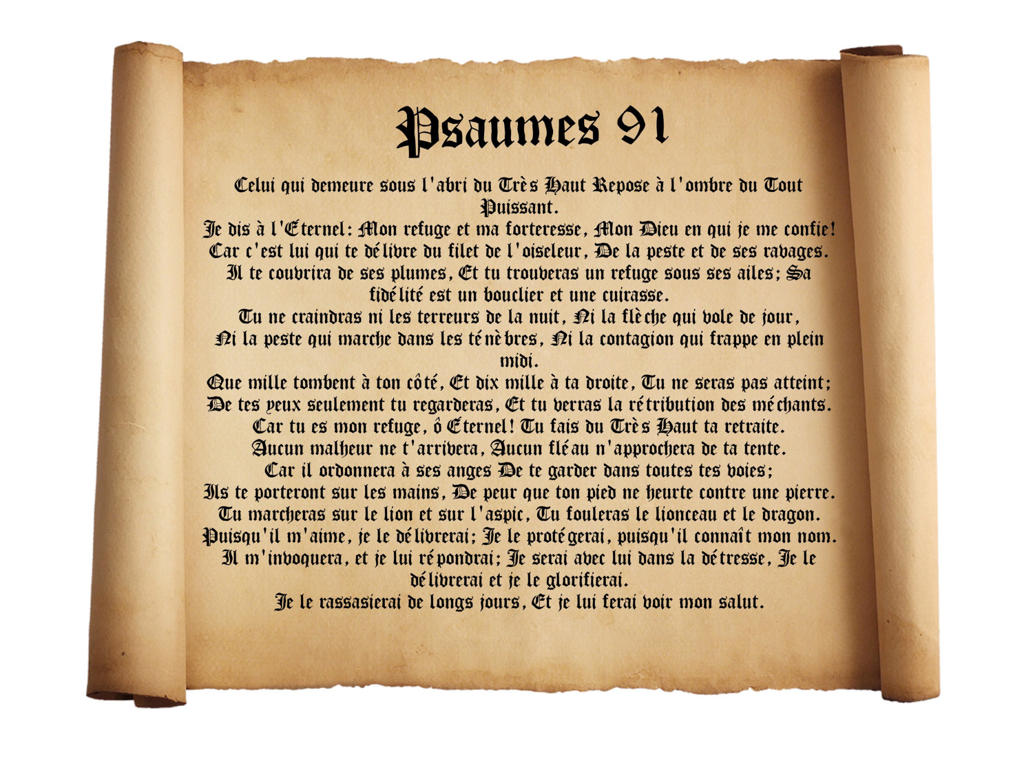 French Psalm 91 Poster Bilingual Bible Poster Etsy