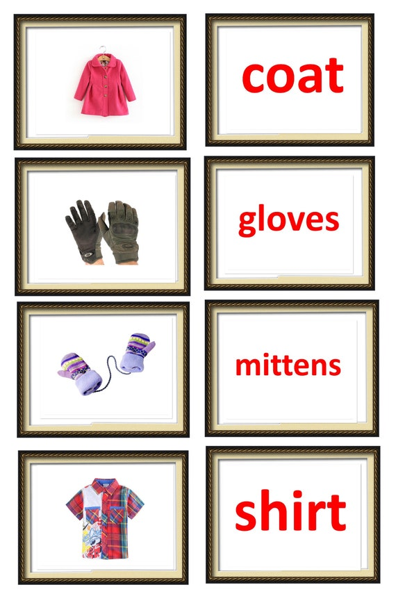 A4 PDF Flash cards: things at home. Printable flashcards. Clothes flash  cards. Shichida flash cards. Haguru education. Glenn Doman cards.