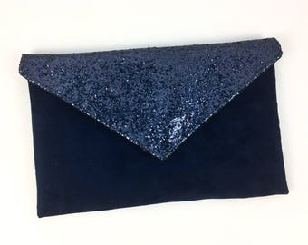 Small party bag Navy suede Navy Blue and midnight blue glitter - clutch - handbag bag blue