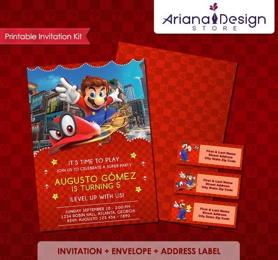 Invitación Mario Oddyssey Super Mario Bros Invitacion Tarjeta De Cumpleaños Super Mario Cumpleaños Mario Bros Fiesta Super Mario Bros