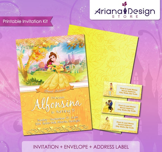photo about Printable Invitation Kit identified as Princess Belle Printable Birthday Invitation Package, Natural beauty the Beast Birthday Invitation, Princess Belle Occasion Card