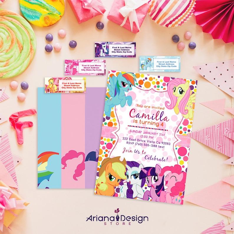My Little Pony Pirntable Birthday Invitation Kit Card
