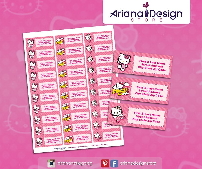 Kitty Printable Address Labels / Kitty Return Address Labels / Mailing  Labels