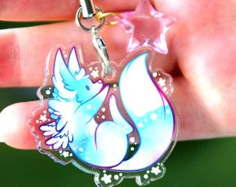 Sugarglaze the Winter Fox - Cute  Acrylic Charm 1.5 Doublesided Furry Keychain Cellphone Strap