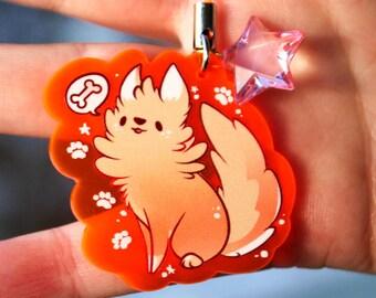 Waffles the Golden Retriever Puppy - UV Reactive Acrylic Charm 1.5 Furry Keychain Cellphone Strap