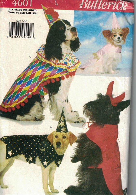 a6152c4b6d9 Butterick 4601 Craft Pattern Dog Costumes and Clothes Fits X