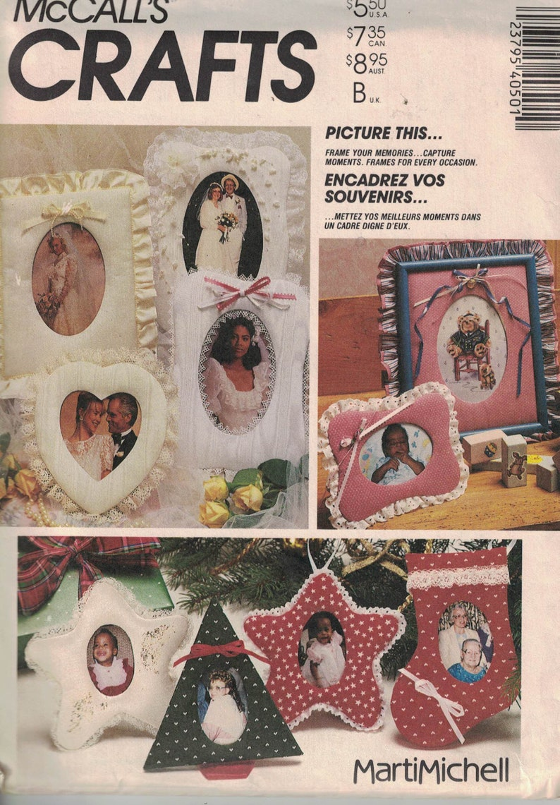 40f16e60231f1 McCalls 4050 Vintage Craft Pattern - Photo Frames in Many Sizes, Including  Ornaments