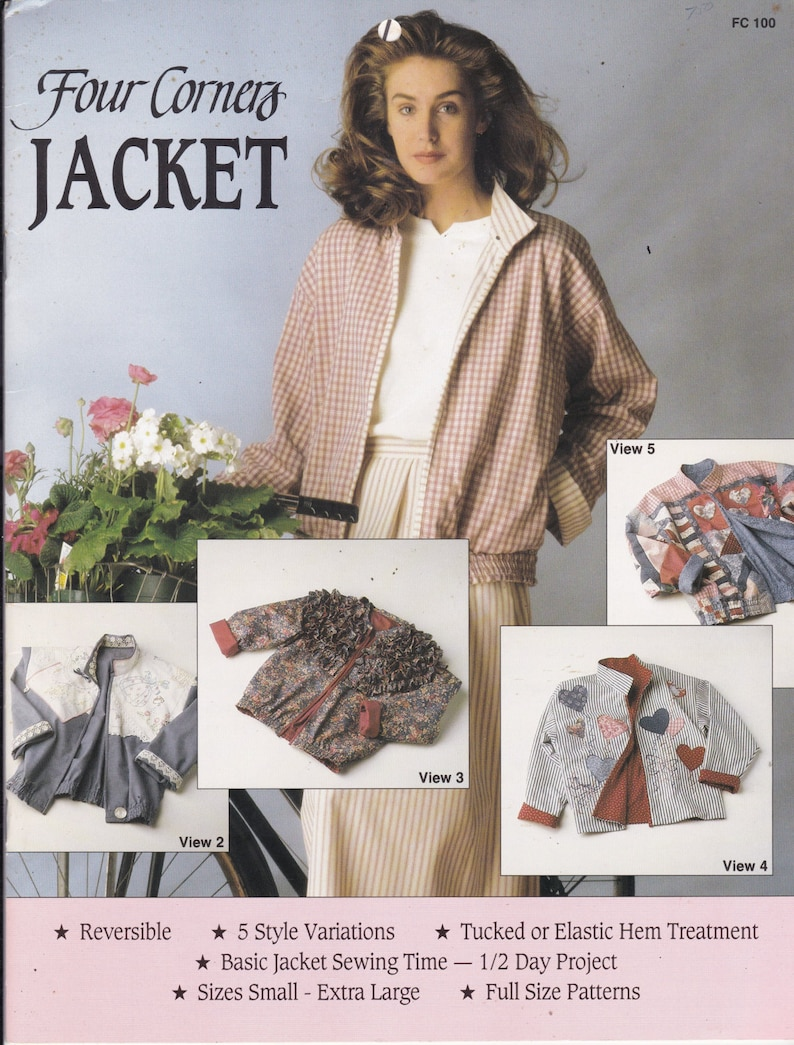 488e619fbcf7d Four Corners Jacket - Vintage Craft Sewing Pattern - Reversible jacket in 5  Styles Size Sm, Med, Lg, X Lg UNCUT