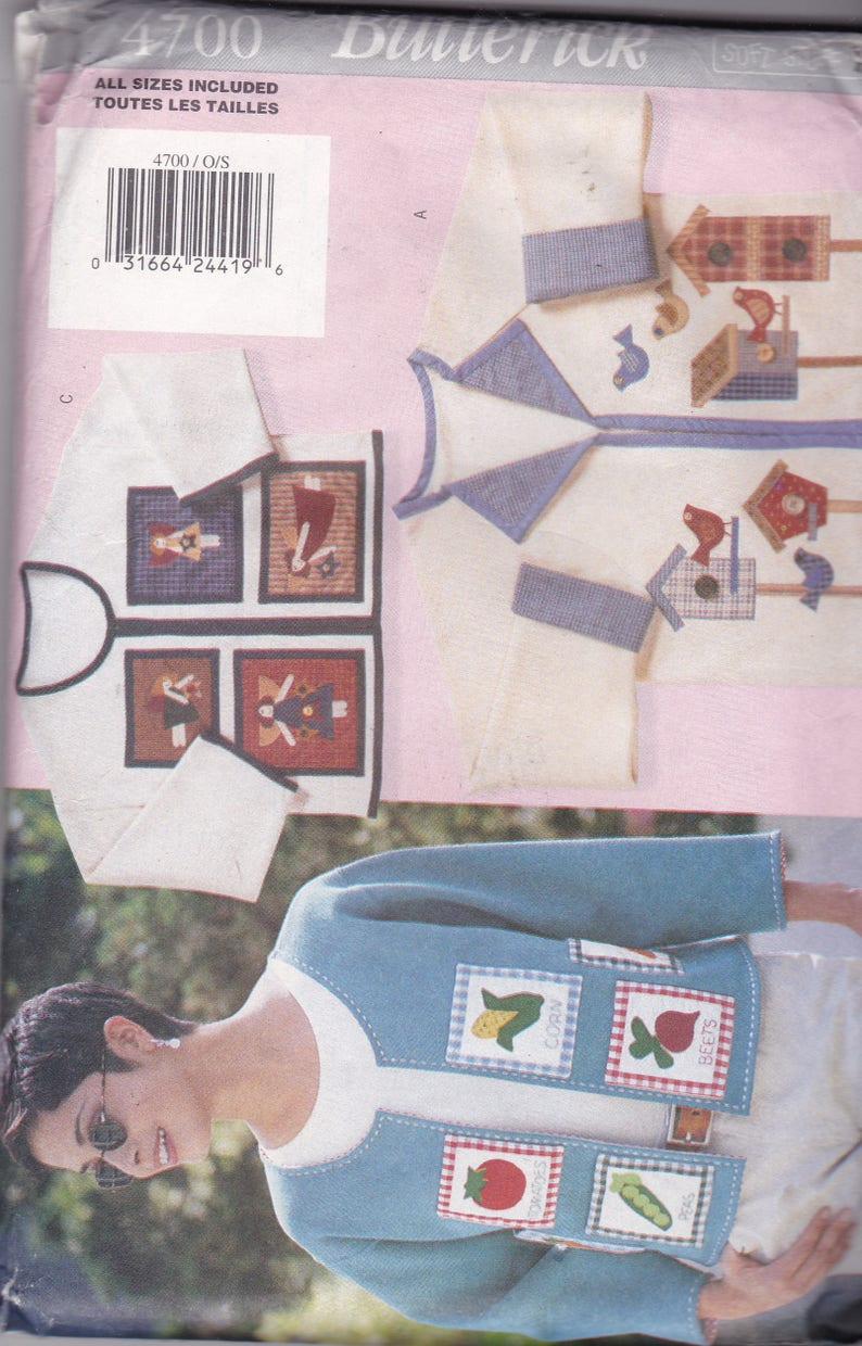 782c198479740 Butterick 4700 VIntage Craft Pattern Womens jacket with Appliques in 3  Variations Size Sm, Med, Lg UNCUT