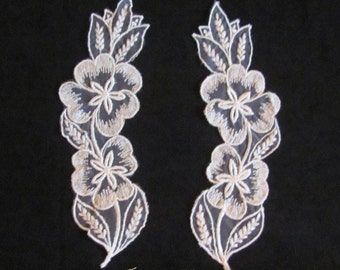 Pair of ivory satin stitched lace appliques 171  Free shipping