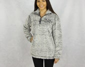Kappa Alpha Theta Quarter Zip Sherpa in Gray
