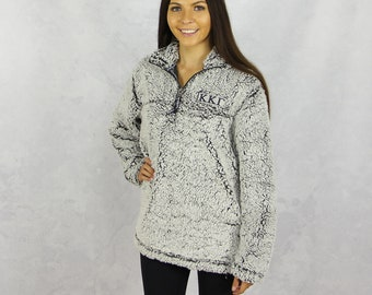 Kappa Kappa Gamma Quarter Zip Sherpa in Gray