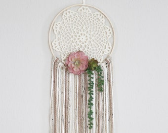 "Succulent Dreamcatcher, Chic Dream Catcher Wall Hanging - 10"" hoop"