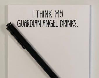 I THINK MY GUARDIAN ANGEL DRINKS Vintage Look Metal Sign