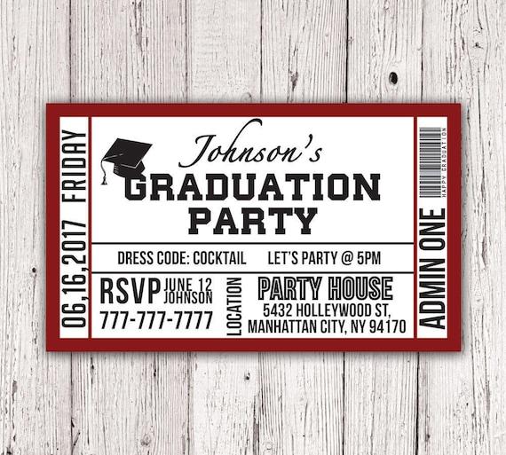 Printable graduation party ticket invitation etsy image 0 filmwisefo