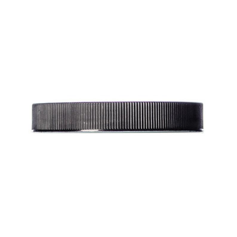 8oz Black Ribbed Jar Caps - Cap Size: 89-400 - Set of 25 - BULK25