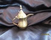 Vintage Etched Mini Brass Dallah