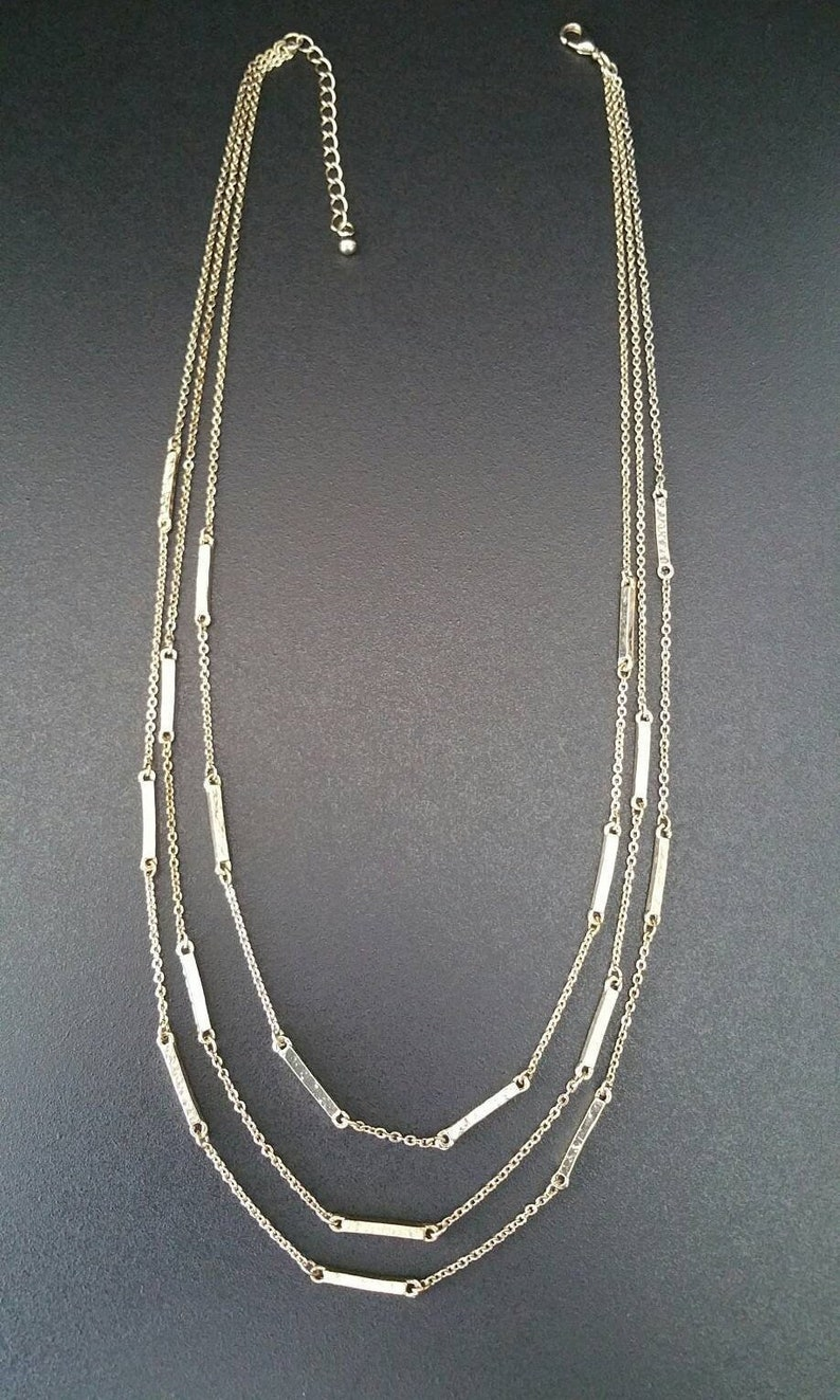 Adjustable 22 Inch 1.5mm Gold Tone Bar and Link Chain Link Necklace Trigger Clasp Vintage Multi Strand Necklace B-N.C-152