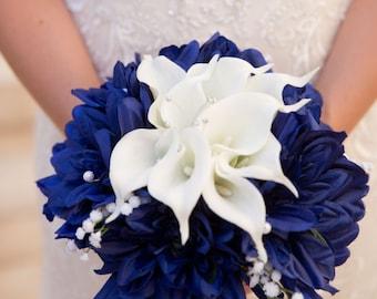 Blue white bouquet etsy blue white bouquet nautical bouquet navy blue bouquet white calla lily bouquet wedding blue bouquet bridal blue bouquet navy bouquet mightylinksfo