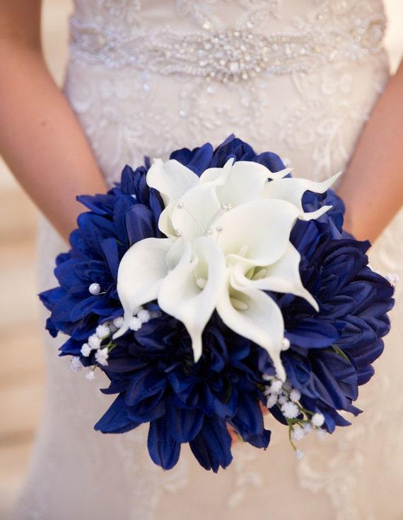 Blue White Bouquet Nautical Bouquet Navy Blue Bouquet White Etsy