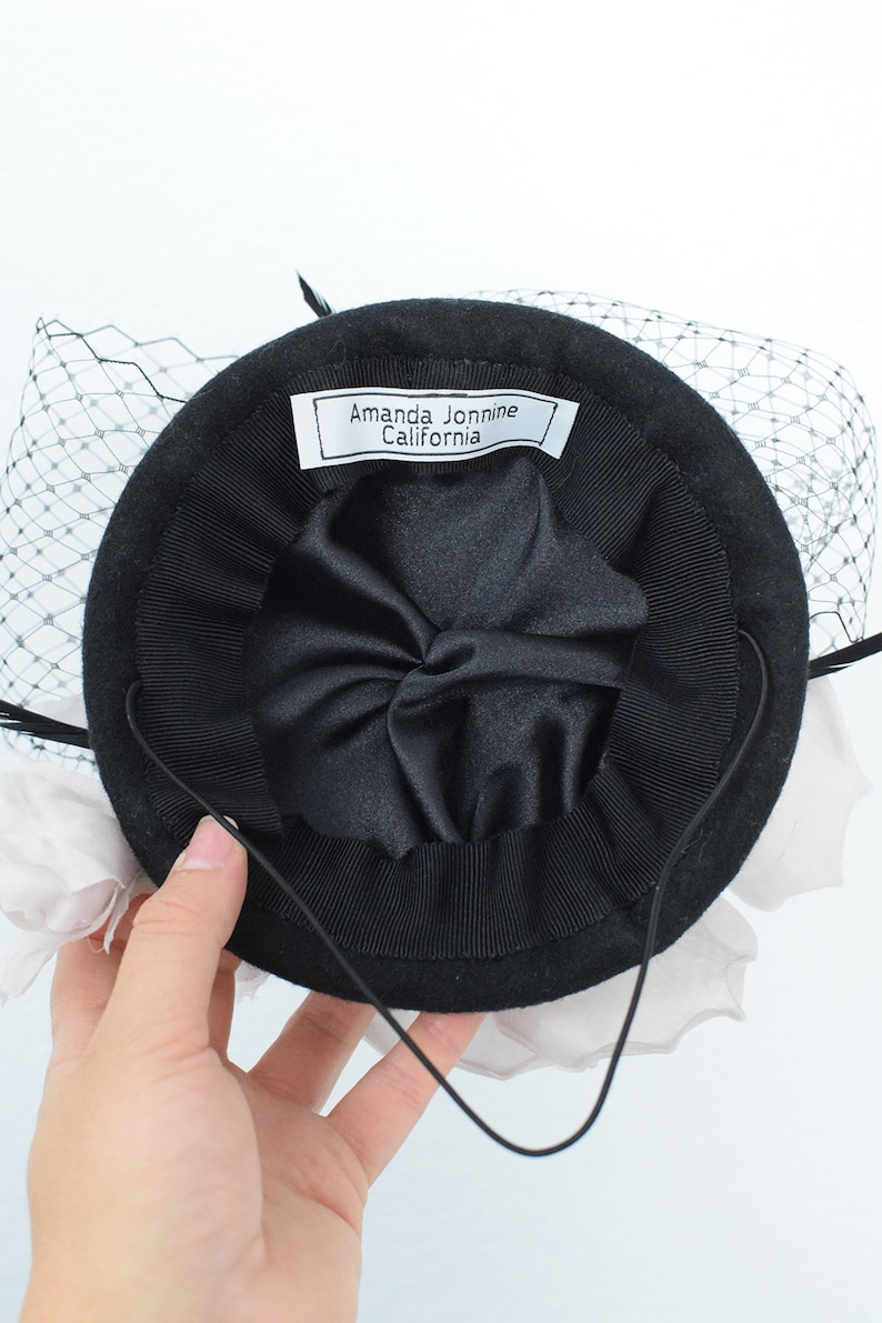 Black and Pink Noir et Rose Felt Hat Fascinator with Silk Flower Veiling and Feathers