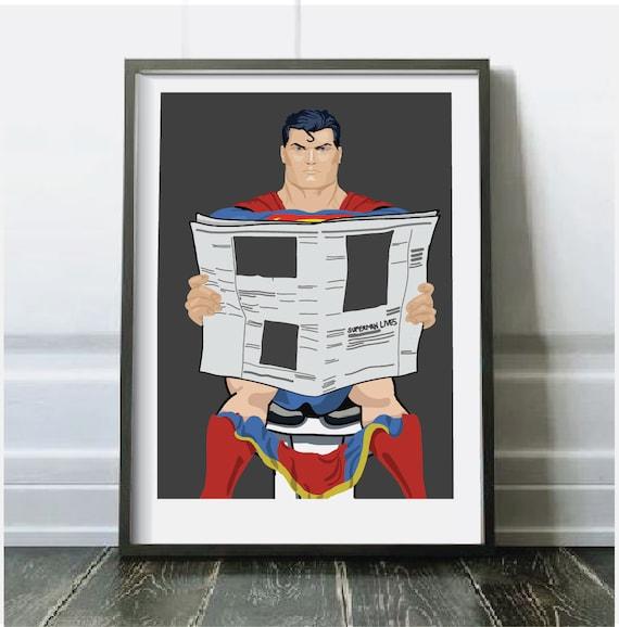 Affiche De Superman Superman Sur La Toilette Affiche De Dc Comics Art De Geek Art Dhumour Art Dhumour De Toilette Humour De Salle De Bains