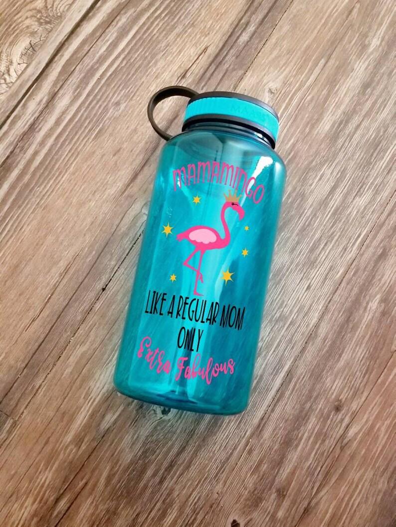 flamingo gift Flamingo bottle Mamamingo water reminder 34oz Wide mouth gym bottle, flamingo water bottle Mom water for flock sake