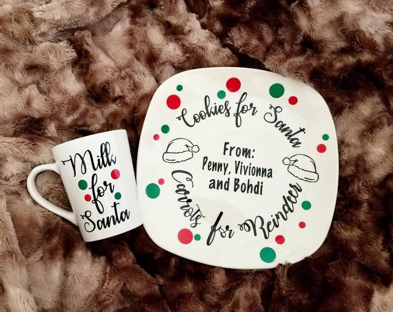 Cookies And Milk For Santa Set Milk And Cookies Plate Cookies For Santa Plate Christmas Cookies Plate Santa Plate Santa Cookies Plate