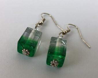 Green block Earrings