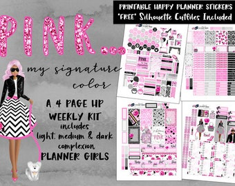 HP Weekly Planner Stickers / Pink / Happy Planner Classic / Printable Planner Stickers / Cut Files / for All Planner Girls