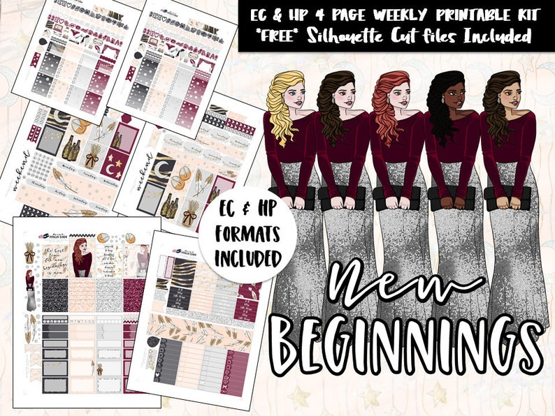 7946fa288df3e Printable Weekly planner sticker kit / Erin Condren / Happy Planner /  Recollections / Silhouette Cut Files / DIY printable planner stickers