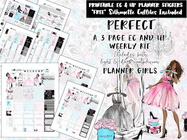 5c1c0afd2d3dc Weekly 3 page kit /Erin Condren weekly kit /Happy Planner weekly kit  /Recollections Spiral /Printable Planner Stickers /Silhouette Cut Files