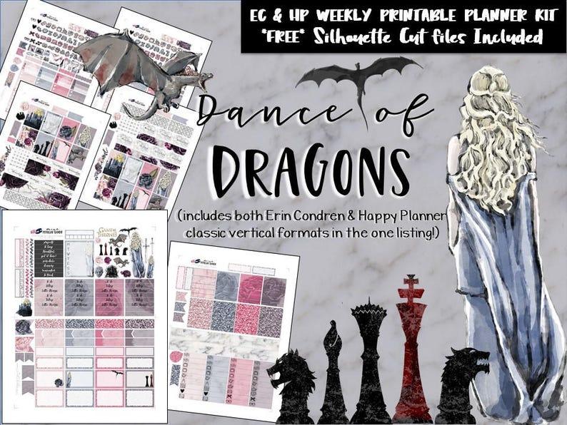 af248f14d2341 Game of Thrones Weekly kit / EC / HP / Erin Condren / Happy Planner /  Printable Planner Stickers / DIY stickers / Silhouette Cut Files