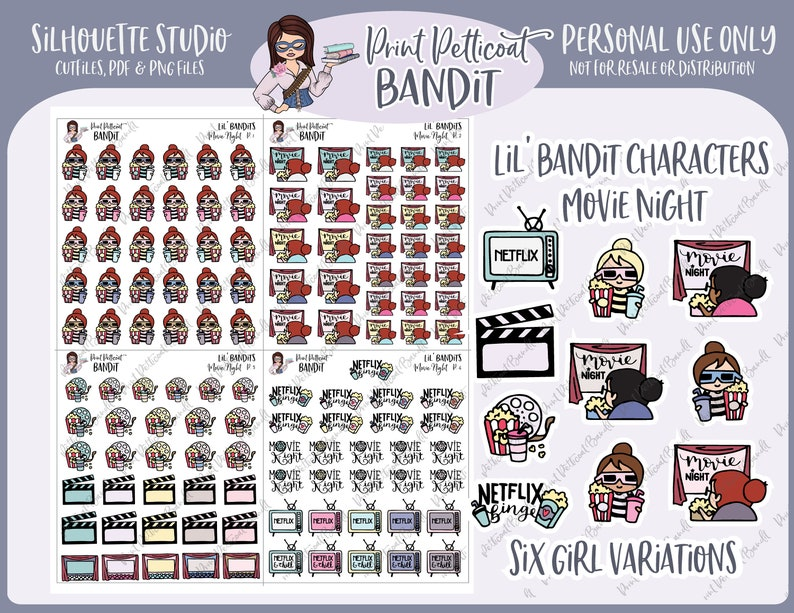 Lil' Bandit Printable Character Stickers - Movie Night | DIY Planner  Stickers | Silhouette Cut Files | Printable Stickers