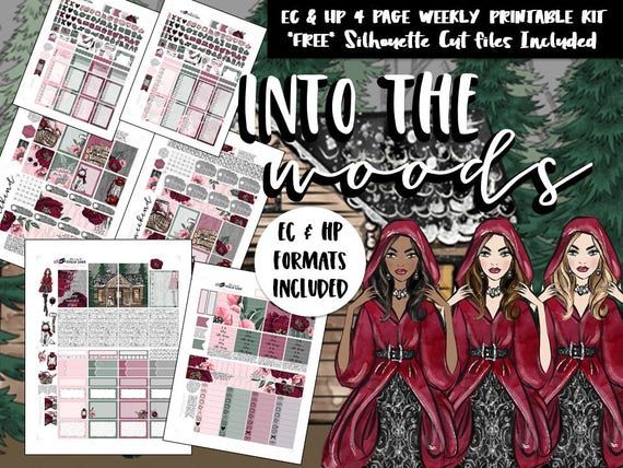 555a05623e9d9 Printable Red Riding Hood Weekly planner sticker kit / Erin Condren / Happy  Planner / Silhouette Cut Files / DIY printable planner stickers