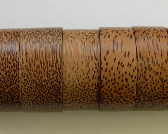 """Coconut wood cylinders large disks boxes one side hollow, candle holders, coconutwood leopard spots spotted striped (8 pieces) >2"""" diameters"""