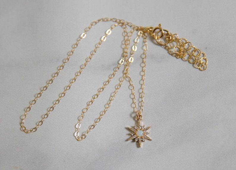 Sunburst crystal and opal pendant dainty and minimalist